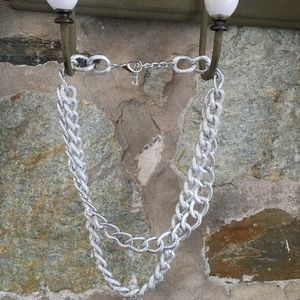 T&J Designs Jewelry - T&J silver texture double chain statement necklace