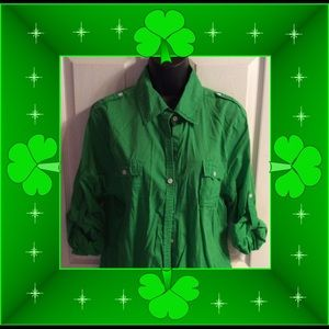 Tops - Green blouse with roll up sleeves.
