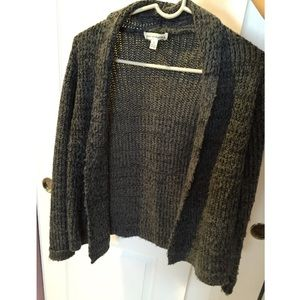 Dark Gray Black Thick Open Knit Cardigan