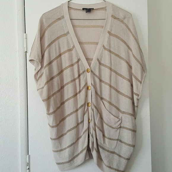 83% off H&M Sweaters - H&M cream/gold short sleeve cardigan. Size ...