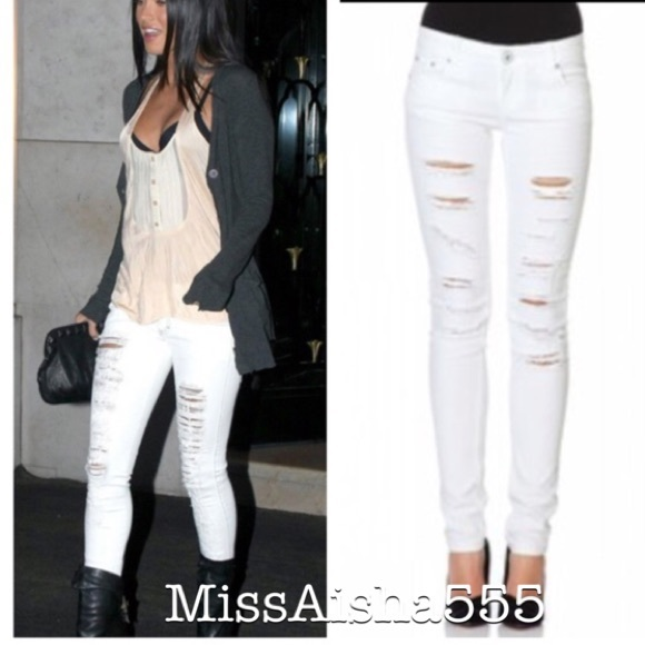 73% off Denim - Favorite skinny shredded white jeans SALE from ...