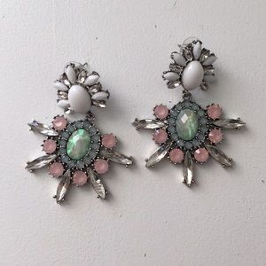 Bauble Bar Jewelry - Pink and Green Statement Earrings