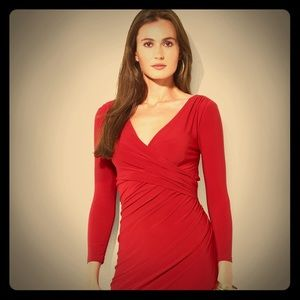 Ralph Lauren Red Ruched Dress