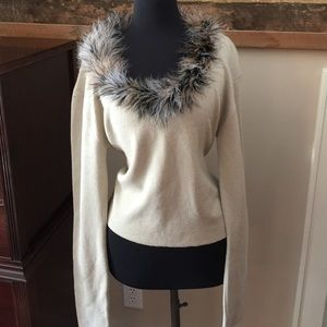 Long Elegant Legs Sweater with fur trim