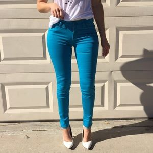 Denim - Teal Skinny Jeggings