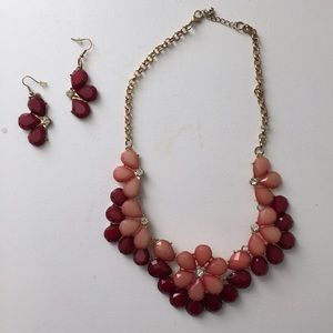 Jewelry - Red and Coral Necklace and Earring Set