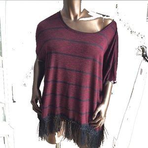 NWT Burgundy & Black Stripe Fringe Poncho Top