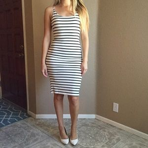 Dresses & Skirts - Black & Off White Striped Midi Dress