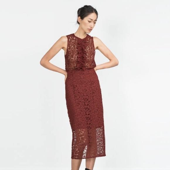 db8fc16a3f865 Zara Skirts | Lace Pencil Midi Skirt Burgundy S | Poshmark