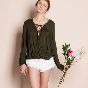 "Bare Anthology Tops - ""After A Rainstorm"" Lace Up Top"