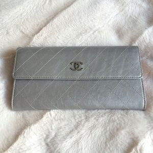 CHANEL Handbags - New Chanel wallet/clutch in silver leather