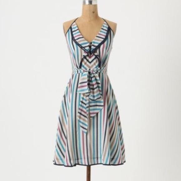 fdbcb1db16b7e Anthropologie Dresses & Skirts - Anthropologie Gull Wing striped silk dress