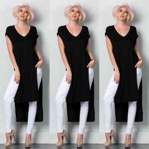 Tops - Side Slit V-neck Top
