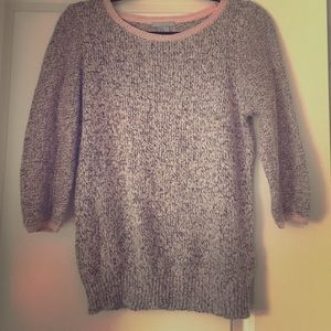 Grey marled sweater with light pink trim