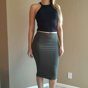 Dresses & Skirts - Olive Midi Pencil Skirt