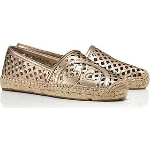 b03a2660e1c Tory Burch Perforated Metallic Flat Espadrille. M 56b536c62fd0b74db0000348