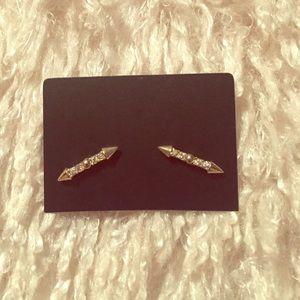 Spear gold CZ earrings