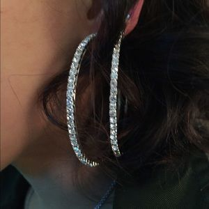 Jewelry - Brand New 6cm CZ Dia. Hoops. W/G plated.