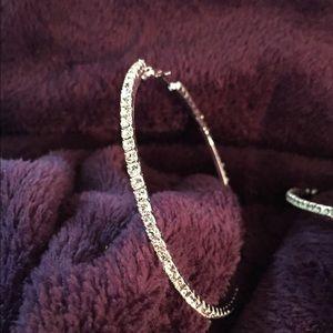 Jewelry - Brand New 6cm CZ Dia. Hoops. W/G plated.