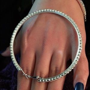 Large 7cm CZ Diamond Hoops White Gold plated.