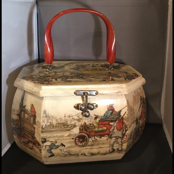 Vintage Wooden Box Purse Decoupage Lucite Handle