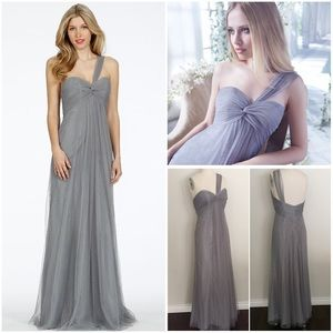 Alvina Valenta Dresses & Skirts - ONE SHOULDER EMPIRE PEWTER GREY FORMAL DRESS