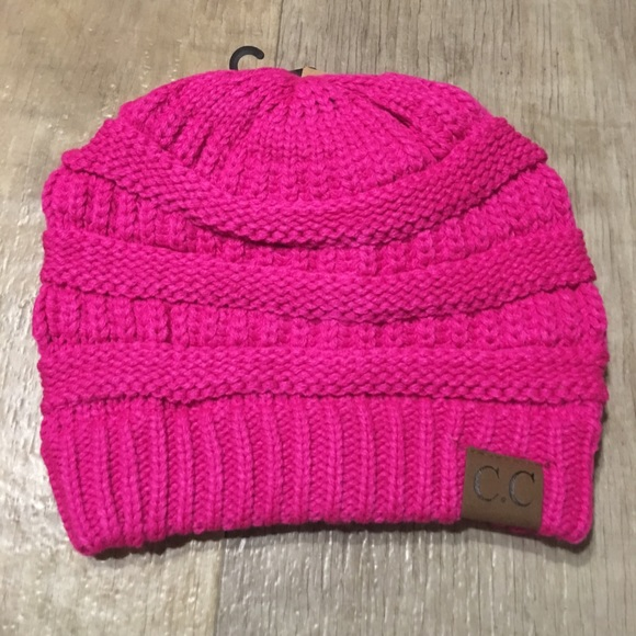 9f33beb52febb6 CC BEANIE Accessories | Sale Neon Hot Pink Slouchy Knit Beanie ...