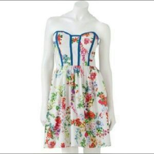 NWT Kandy Kiss Floral Strapless Dress sz 10