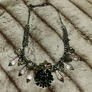 Black/crystal statement necklace