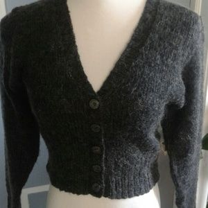 Bisou Bisou Sweaters - *HP* Cropped charcoal mohair cardi