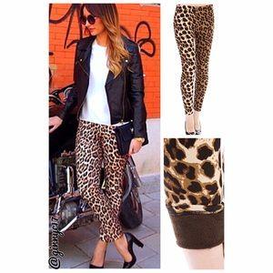 Closet MUST! Leopard Print Fleece Lined Leggings
