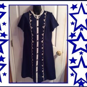 Dresses & Skirts - Vintage Blue and White Dress--So Sweet and Cute