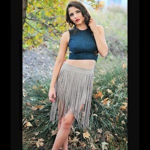 Fringe Skirt : Nude