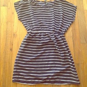 Navy blue striped dress.