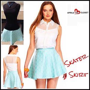 English Rose Dresses & Skirts - ❗️1-HOUR SALE❗️Skater Skirt Circle Jacquard Mini