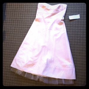 JCrew formal dress pink and white