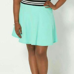 Plus Light Green  Athletic Skater Skirt