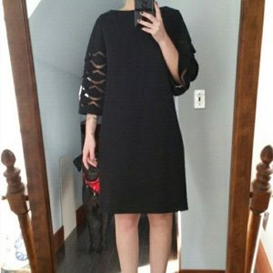 Vintage 1960's LBD with mesh scalloped sleeves!!!!