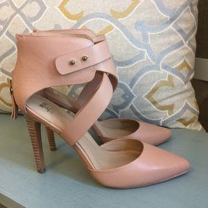 New Joe's Jeans Ankle Wrapped Heels in Nude/Blush