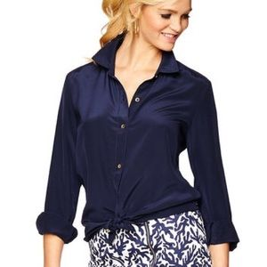 Lilly Pulitzer Navy Silk Blouse xs
