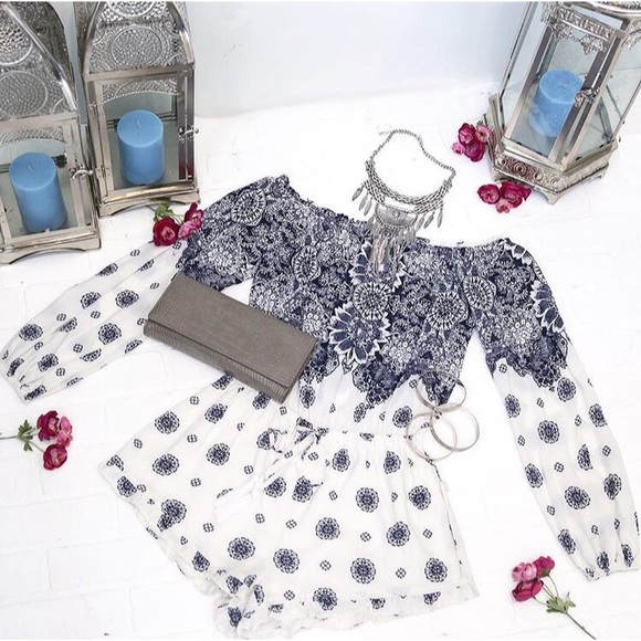 2e5e0e4d49f White Blue Boho Printed Off Shoulder Romper