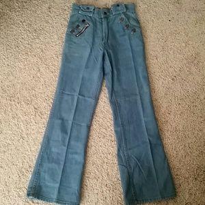 One of a kind Vintage denim bellbottom jeans