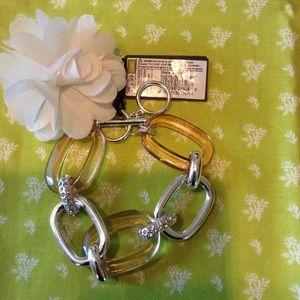 Silver tone and acrylic link rhinestone bracelet