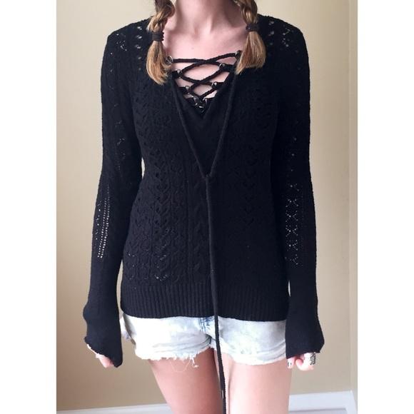 Free People Sweaters - Free People Black Knit Lace Up Sweater fa108ffee