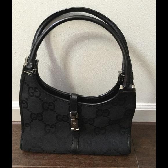 Gucci Handbags - Vintage GUCCI Jackie O Canvas Leather Black Bag f81f68c609ff5