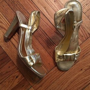 Diane von Furstenberg gold leather sandals!