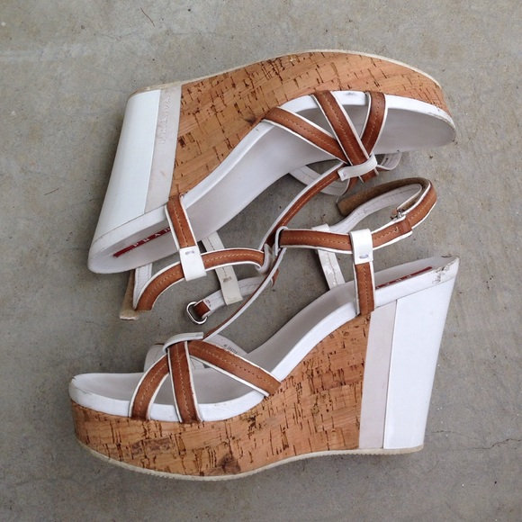 d565fa4c088 Prada white tan cork platform wedge sandals. M 56b655fc713fde0142017a3c