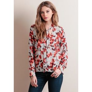 Tops - CLEARANCE❗️Floral Neck Tie Long Sleeve Blouse Top