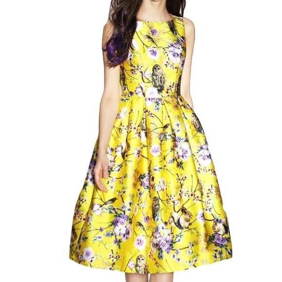 33% off Zara Dresses & Skirts - Yellow Print Dress. from ...