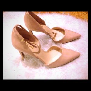 Shoes - Nine West nude patent leather D'Orsay pumps
